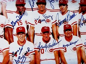 1976 (Reds) Big Red Machine 24x36 Signed Joe Morgan etc.Photo/Poster -CEI Auth.