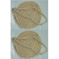 2 Pack of 3/4 x 25 Ft Gold & White Double Braid Nylon Mooring and Docking Lines