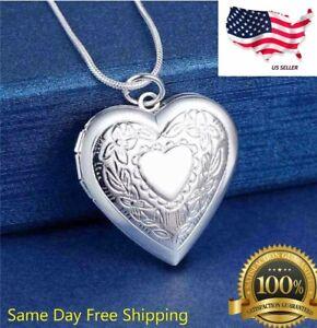 picture locket Valentine\u2019s Day Gift Vintage silver heart locket pendant heirloom jewellery