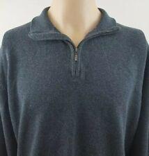 VIYELLA Mens Gray 1/4 Zip Men Cotton/Cashmere Blend Sweater Elbow Patches Size S