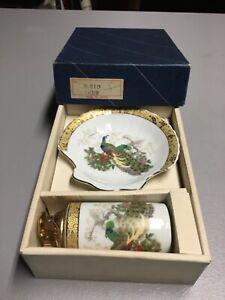 "Vintage Japanese Porcelain Table Lighter & Ashtray Set ""PEACOCK"" w/Orig Box!"