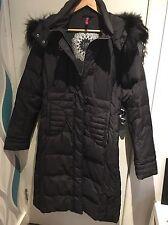 Denmark Loft Fashion Black Puffer Long Duck Down Real Fur Lined Hood Size 14