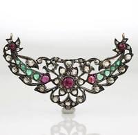 Victorian Antique Sterling Silver 14K Rose Diamond Ruby Emerald Pendant LFF5