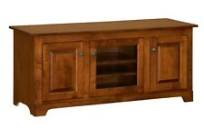 "Amish Solid Wood TV Stand Console Cabinet 56"" Media Storage Glass"