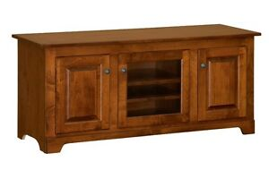 "IN STOCK - Amish TV Stand Console Cabinet 56"" Solid Red Oak Wood"