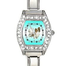 Papillon Dog CZ Ladies Stainless Steel Italian Charm Bracelet Wrist Watch BJ1158