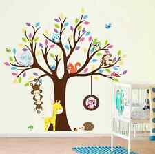 Jungle Animals Tree Monkey Owl Removable Wall Decal Stickers  UK
