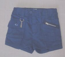 Vintage Boys Shorts - Age 7-8 Approx - Navy Blue Drill - Zip Front -Key Ring-New