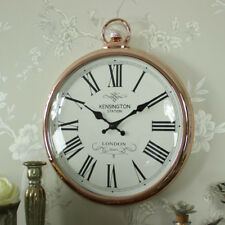 Large copper vintage style wall hanging fob clock shabby vintage chic home gift