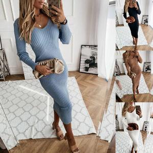 Wome Sexy Slim V Neck Dress Long Sleeve Knit Dress Autumn Winter Bodycon Dress #