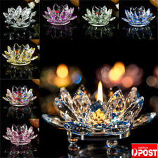 8 Color Crystal Glass Lotus Flowers Candle Tea Light Holder Buddhist Candlestick