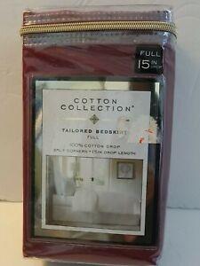 "Levinsohn Cotton Collection Tailored Bedskirt 15"" Drop Burgundy Full 54"" x 75"""