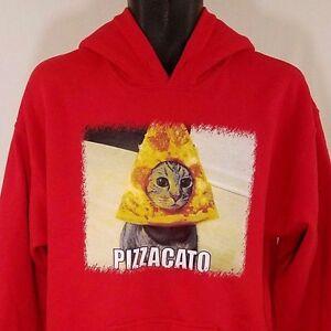 Pizzacato Hoodie Sweatshirt Pullover Pizzicato Judson Orchestra Cat Pizza M
