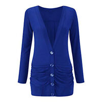 New Ladies Ruched Boyfriend Button Cardigan with Pockets Jumper TOP UK Size 8-26