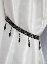 Crystal Beaded Curtain Tie Back Black Black BEA43B