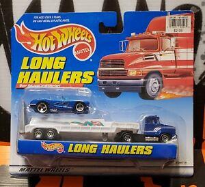 "1998 HOT WHEELS LONG HAULERS "" OVER THE ROAD TRANSPORTER "" w/ BLUE CORVETTE"