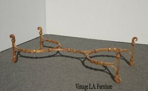 Vintage Spanish Style Gold Wrought Iron Coffee Table No Glass Made in Mexico