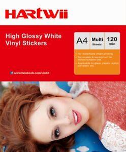 A4 High Glossy White Vinyl Waterproof Sticker Inkjet Print Self Adhesive Hartwii