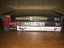 Lot of 3 Playstation 3 (PS3) Games Batman Arkham City,  Infamous, Motorstorm CIB