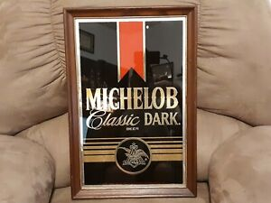 """VINTAGE Michelob Classic Dark Beer Sign, Mirrored, Wood Frame, Approx. 23"""" x 15"""""""