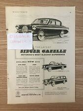 Singer Gazelle Saloon Estate Convertible Cars Vintage 1958 Print Ad