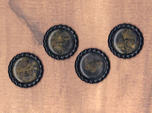 Graphic45 BIRD SONG #420 (4) Black HANDMADE Bottle Cap Accents BUY MORE & SAVE!
