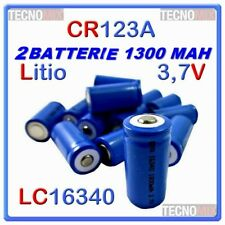 2 Batterie LC 16340 CR 123A pila Ricaricabile Litio 1300 mAH 3,7v Torcia Softair