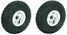 "NEW 2 TIRE SET 10"" STEEL AIR PNEUMATIC HAND TRUCK DOLLY WAGON INDUSTRIAL WHEEL"