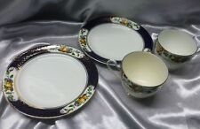 2 Heathcote China tea cups and tea plates, cobalt blue and gilt decoration