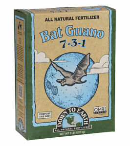 Down To Earth -Bat Guano (7-3-1) 2 LB -  All Natural Organic Fertilizers