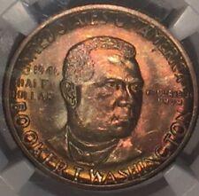 1946 D Booker T. Washington Commemorative Half Dollar, NGC MS66 : Rainbow Tones