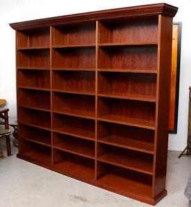 Large Open Bookcase Bookshelves Mahogany Vintage Antique