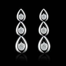 Stunning 925 Sterling Silver Filled Solid Teardrop Drop Dangle Earrings E610