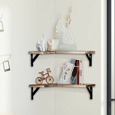 ALEKO Rustic Wood Wall Mount Storage Floating Corner Shelves - Set of 2