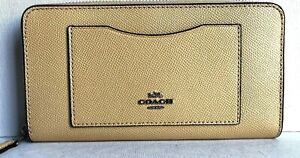 New Coach F54007 Accordion zip wallet Cross-grained Leather Vanilla (Yellow)