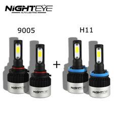 H11 9005 4PCS LED Total 144W 18000LM Combo Headlight High 6000K White Kit Bulbs