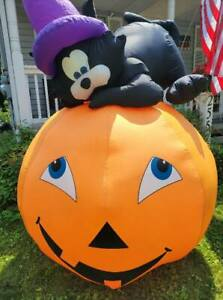 Gemmy 2007 7ft Tall Cat on Pumpkin Airblown Halloween Inflatable With Box