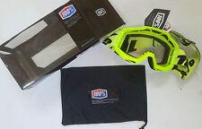 100% Accuri Mx Gafas TRANSPARENTE Motocross SUZUKI Neón Amarillo DH QUAD ENDURO