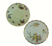 Made in England Bone China lot of 2 Different China Saucers Flowers Vintage