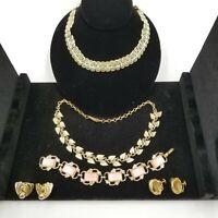 Vintage Coro 7 pcs Lucite Thermoset Bracelet Pink, Goldtone Necklace, earings