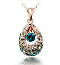 Elegant Teardrop Crystal Rhinestone Pendant Hollow Necklace Fashion Jewellery