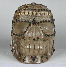 8.8 inch Old Tibetan Crystal Filigree Coral Buddhism Human Skeleton Skull Head