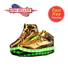 Women Men LED Light Up Trainer Lace Up High Top Luminous Casual Shoes Sneakers