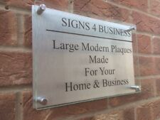 XL GLASS ACRYLIC / ALUMINIUM OPENING TIMES BUSINESS PLAQUE STAND OFF SIGN LARGE