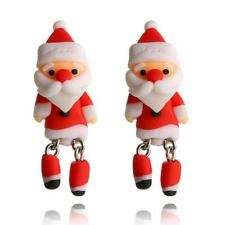 Boucles d'Oreilles de Père Noël en argile polymère douce fait à la main