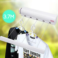 3.7 M Automatically Shrink 5 Retractable Washing Line Clothes Airer Dry Wall