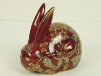 "Ceramic 5"" Rabbit Bunny Figurine Asian Chinese Burgundy Red Flowers Gold Trim"