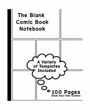 Blank Comic Book: Variety of Templates 7.5 x 9.25 130 Pages com... Free Shipping