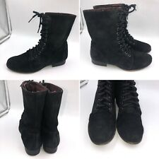 Dune Size 6 Black Suede Victorian Lace Up Boots Cosplay Goth Womens