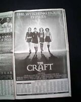 Best THE CRAFT Cult Film Movie Opening Day AD Review 1996 Los Angeles Newspaper